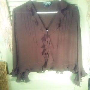 Ralph Lauren silk ruffled button down blouse sz 14